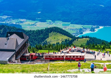 ST WOLFGANG, AUSTRIA - JULY 10 2019: Steam locomitives of the SchafbergBahn, the steepest cogwheel railway in Austria, have been taking tourists to the 1783 m high summit of the Schafberg since 1893.