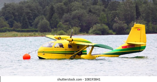ST. WOLFGANG, AUSTRIA - JULY 7: The Republic Seabee was built between 1946 and 1948 is a two-engined flying boat. Rare oldtimer in Air Challenge on July 7, 2012 in St. Wolfgang.
