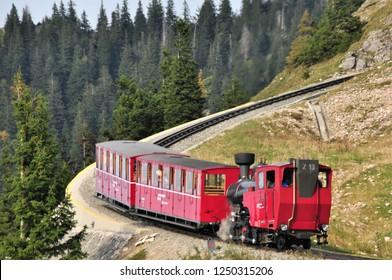 ST WOLFGANG, AUSTRIA - SEP 2017, : The Schafberg Railway train is a gauge cog railway in Upper Austria and Salzburg. Schafberg train leading from St Wolfgang im Salzkammergut to the Schafberg