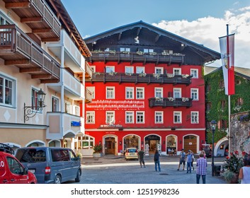 """ST. WOLFGANG, AUSTRIA - SEPTEMBER 19, 2018: Photo of largest and most famous hotel Im weißen Rössl (""""At the white horse"""")."""