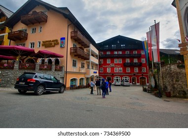 St. Wolfgang im Salzkammergut, AUSTRIA - May 20, 2017: View of street and buildings in town of St. Wolfgang im Salzkammergut in Austria on May 20, 2017