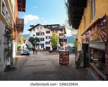 ST. WOLFGANG IM SALZKAMMERGUT - OCTOBER 21: Houses in old town of St.Wolfgang im Salzkammergut, Austria on October 21, 2018.