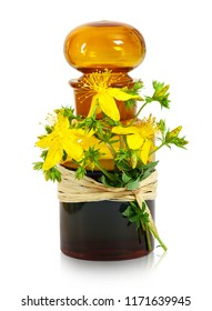St john´s wort , old pharmacists bottle