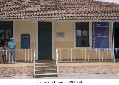 STA CATARINA ASSOMADA, SANTIAGO ISLAND, CAPE VERDE - SEPTEMBER 03, 2015: Main facade of the Cultural Center, in the center of the city