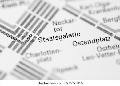 Staatsgalerie Station. Stuttgart Metro map.