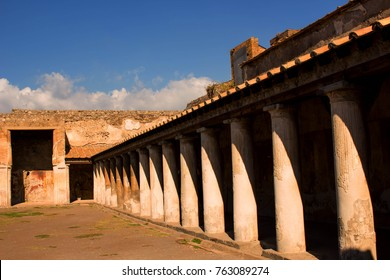 Stabian thermal baths in ancient Pompeii, which was destroyed by the eruption of Mount Vesuvius in 79AD