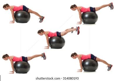 Stability ball exercise. Studio shot over white.
