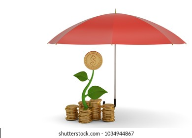 Stability and protection in financial and business concept. 3D illustration.