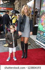 Stacey Solomon with her son Zachery arriving for the Celebrity & Press Performance of Nickelodeon's Dora the Explorer at the Apollo Theatre, London. 29/08/2012 Picture by: Henry Harris