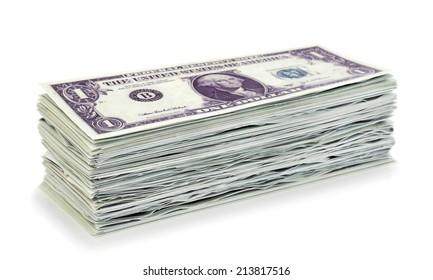 Stack 1 dollar banknotes on white background
