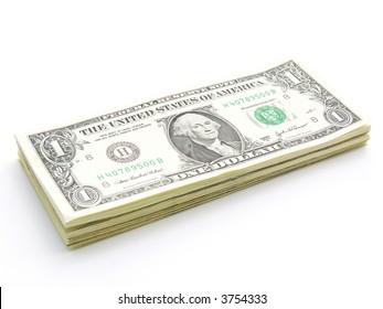 Stack of 1 Dollar Bills U.S