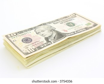 Stack of 10 Dollars Bills U.S
