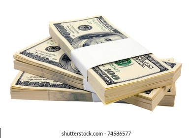 Stack of $100 bills isolated on white background