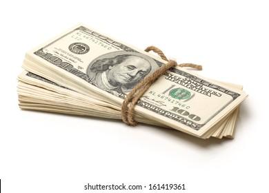 Stack of $100 bills on white background