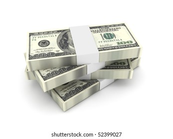 Stack of 100 dollar bills isolated on white background. High quality 3d render.