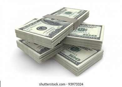 Stack of 100 dollar bills on white background