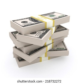 Stack of 100 dollars USA on white background. Financial concept.