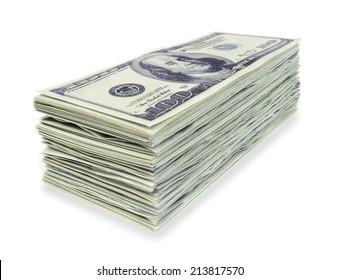 Stack 100 hundred dollars banknotes on white background