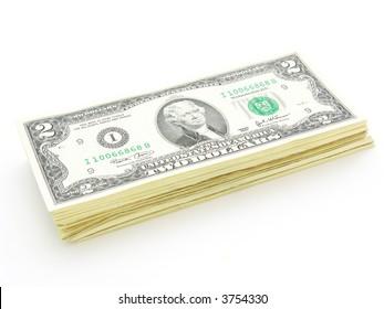Stack of 2 Dollars Bills U.S