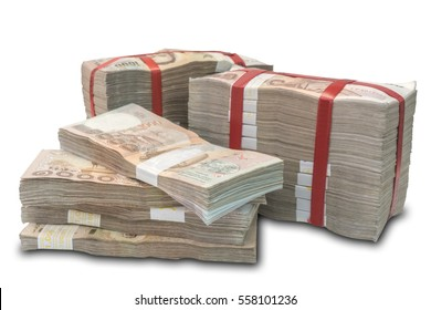 Stack of 2.5 Million Thai baht, 1000 baht Thai money bill bankNote, isolated on white background with clipping path