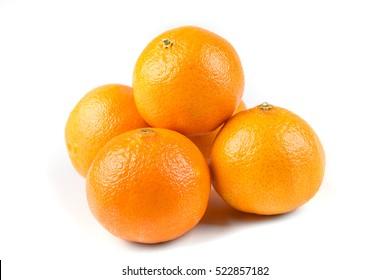 Stack of 5 navel oranges isolated on white background