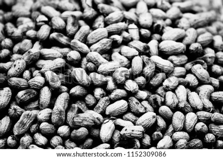 A stack of almonds isolated unique black and white blurry photo