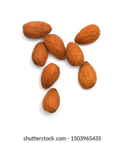 Stack Almonds on white background