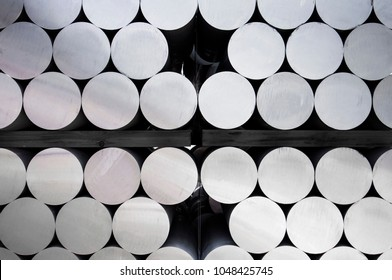 Stack of aluminium bar in aluminum profiles factory