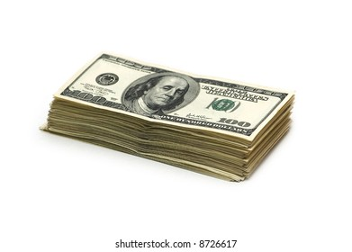 Stack of american dollars isolated on white