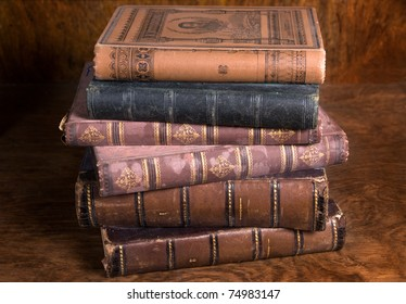 stack of antique books