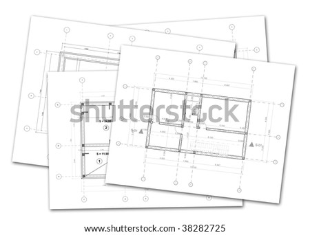 Stack Architectural Plans On White Background Stock Photo Edit Now