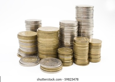 stack of Argentine coins over white background