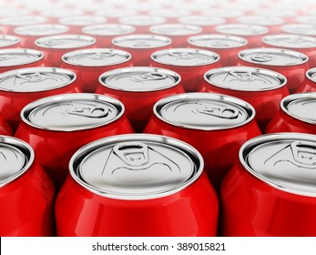 Stack of arranged red soda cans put together