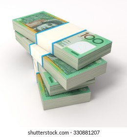 Stack of Australian dollar bills. Isolated on white.