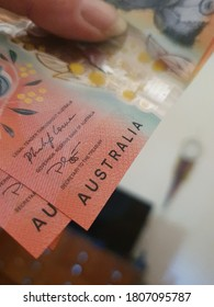 Stack of Australian money, new twenty dollar notes