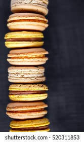 Stack of Autumn Flavored Macarons with copy Space