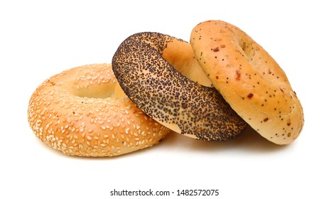 Stack of bagels on white background