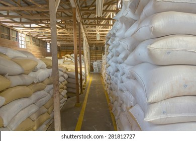 Stack of bags at warehouse