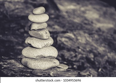 A stack of balancing rocks