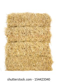 stack of bale hay straw isolate on white background