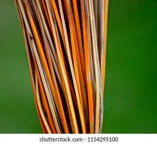 Stack of bamboo sticks with green background unique blurry photo