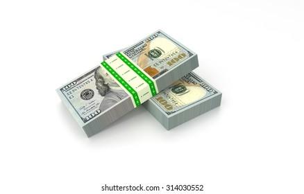 Stack of bank notes. Rendered illustration.