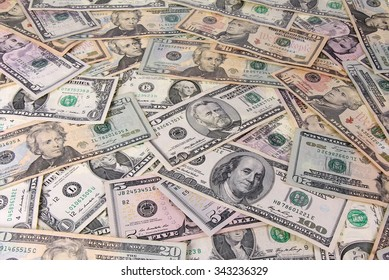 Stack of banknotes dollars as background