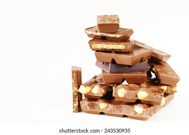 stack of bars pieces of chocolate with different flavors