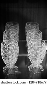 Stack of beautiful drinking water glasses isolated object photo