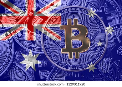 Stack of Bitcoin Australia flag. Bitcoin cryptocurrencies concept. BTC background.