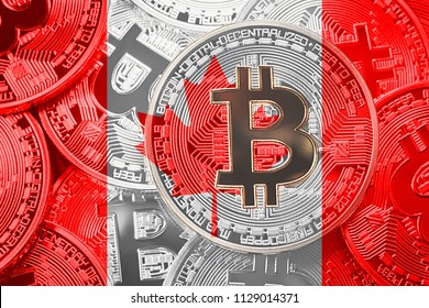 Stack of Bitcoin Canada flag. Bitcoin cryptocurrencies concept. BTC background.