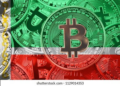 Stack of Bitcoin Chechnya flag. Bitcoin cryptocurrencies concept. BTC background.