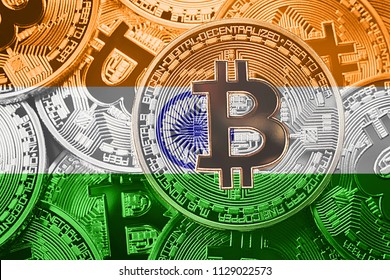 Stack of Bitcoin India flag. Bitcoin cryptocurrencies concept. BTC background.