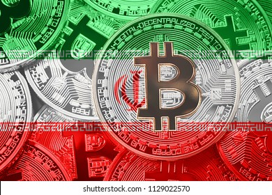 Stack of Bitcoin Iran flag. Bitcoin cryptocurrencies concept. BTC background.